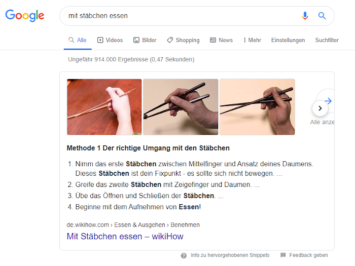 Screenshot: Featured Snippet zum Essen mit Stäbchen mit Bilder-Karussell bei Google