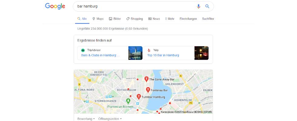 Google zeigt Links zu Drittanbietern wie Tripadvisor in den Local SERPs