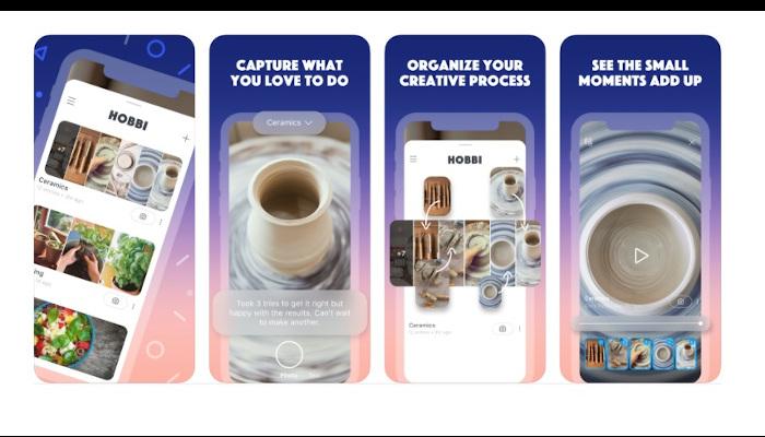 Auf dem Bild sind vier Screenshots der App Hobi zu sehen