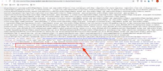 HTML Code der Domain tandem-race.de zur Mappierung von Reiseuhu-Content