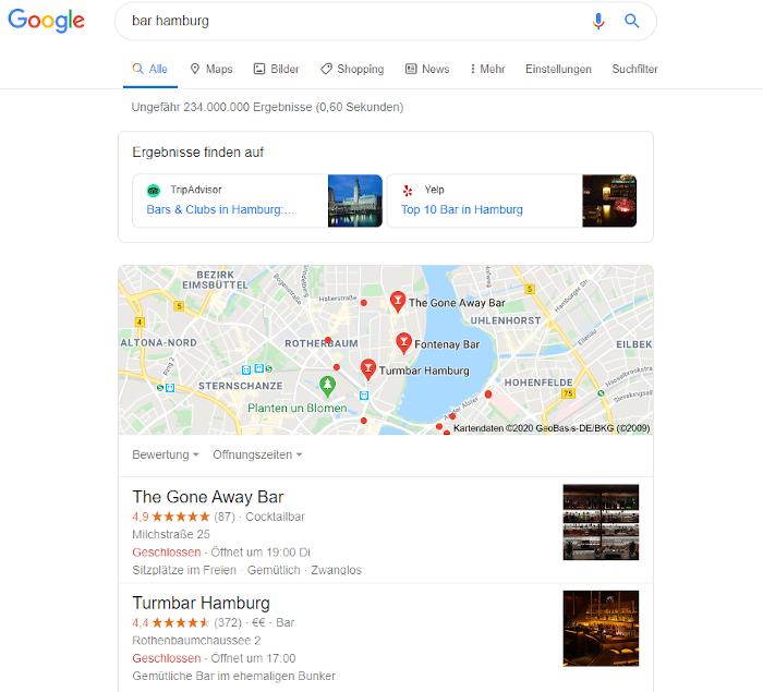 Screenshot Google SERPs: Links zu Drittseiten tauchen in den lokalen Suchergebnissen bei Google auf
