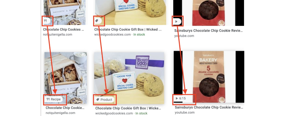 Produkte, Rezepte oder Video Content: Icons bei Google Bilder geben Insights zur Quelle