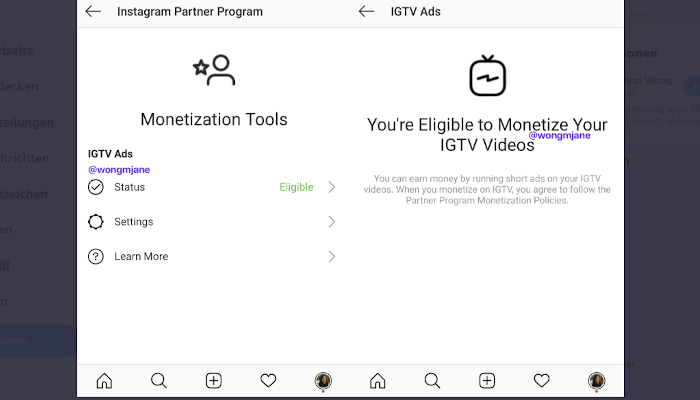 Tweet Jane Manchun Wong zu Instagram Partner Program