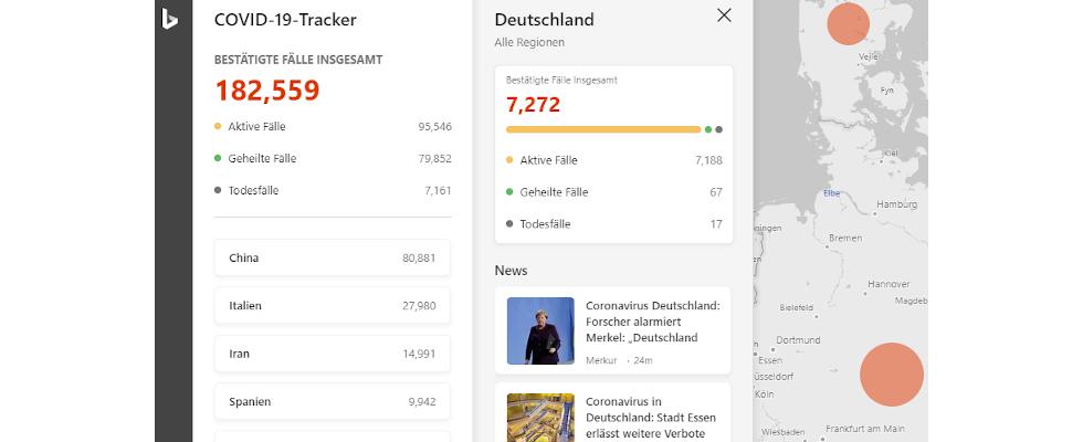 Bing bringt interaktive Tracking Map zum Coronavirus