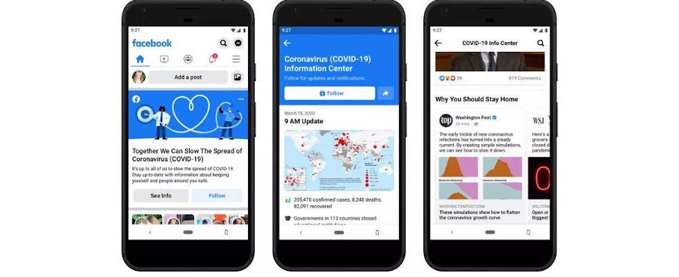 Coronavirus: Facebook User bekommen Updates oben im Feed angezeigt