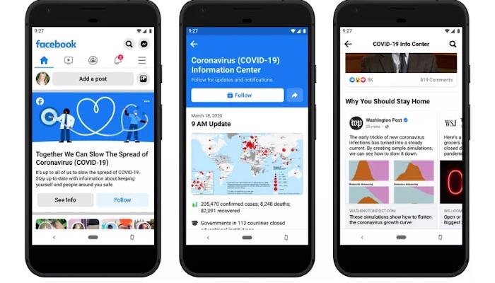 Coronavirus: Das neue Information Center oben im Facebook Feed