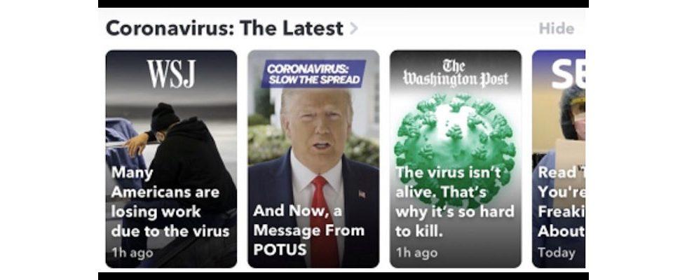 "Snapchat launcht Newsfeed zu COVID-19: ""Coronavirus: The Latest."""