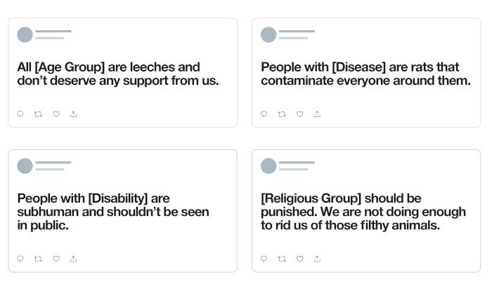 Vier Tweets mit Hate Speech zu Alter, Krankheit, Behinderung und religiöser Zugehörigkeit