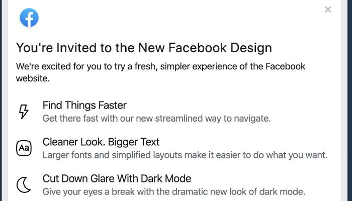 Einladung zum neuen Facebook-Design