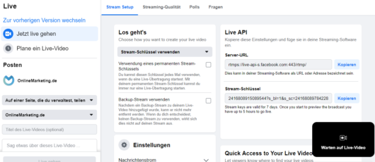 Facebooks neues Live Producer Dashboard, Screenshot Facebook