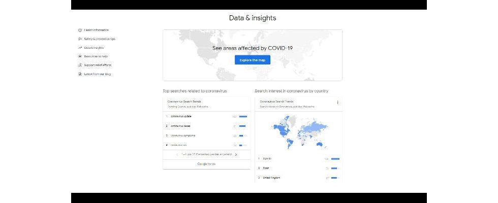 Google launcht Info-Website mit interaktiver Karte zum Coronavirus