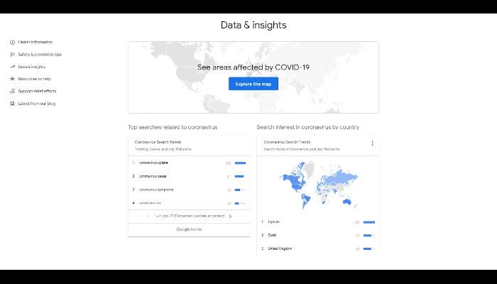 Screenshot von Googles Info-Website mit Data und Insights