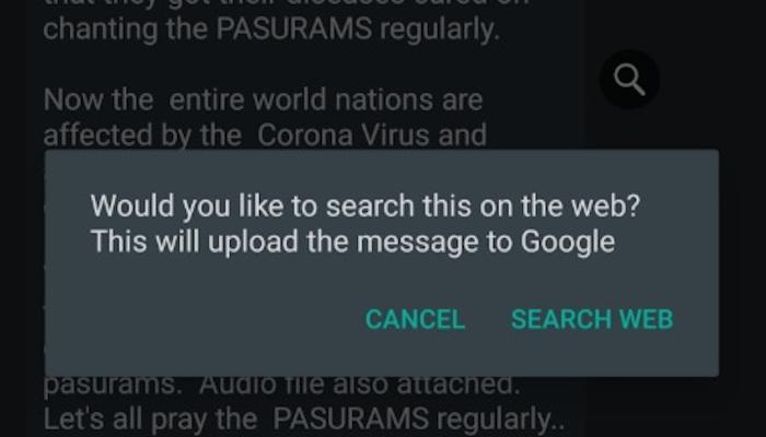Im Hintergrund: Ein WhatsApp Chat vor dem ein Fenster geöffnet ist, auf dem steht, ob man die Nachricht in Google überprüfen möchte