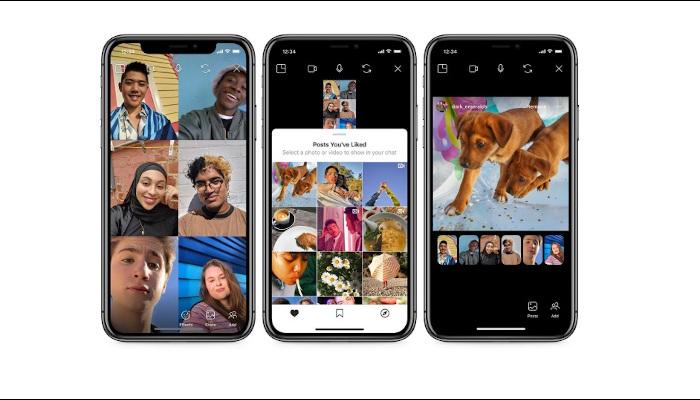 Das neue Co-Watching-Feature von Instagram: Drei Screens, die zeigen, dass der Bildschirm geteilt ist und man sieht mehrere Menschen sowie den Feed durch den man zeitgleich scrollen kann