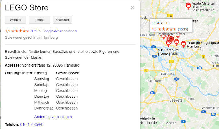 Korrekte Angaben zu den Öffnungszeiten bei lokalen Läden sind auch bei Google relevant