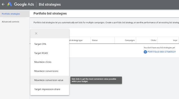 Portfolio-Gebotsstrategien bei Google Ads werden angezeigt