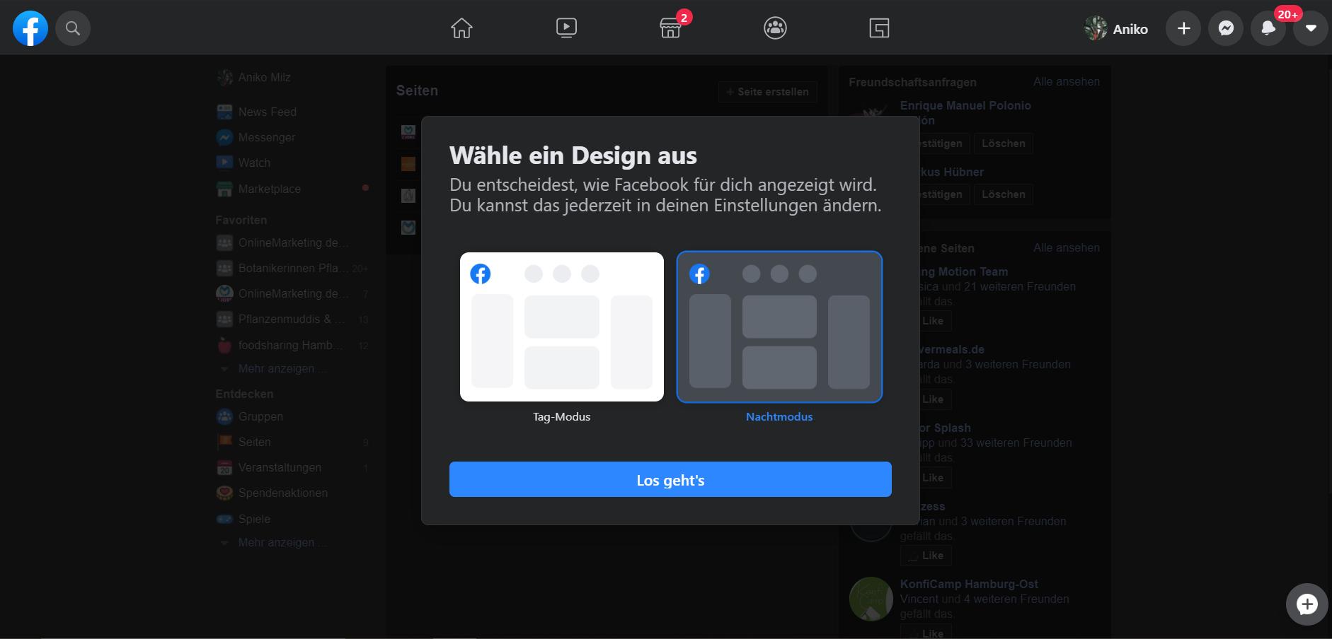 Dark Mode des neuen Facebook-Designs