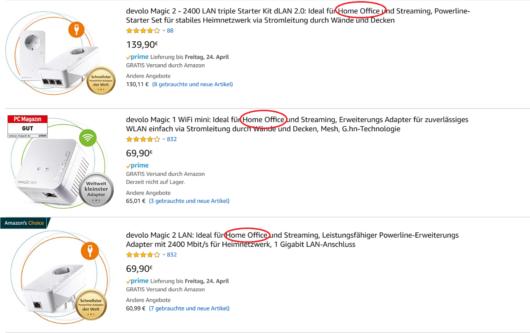 Anpassungen der Produktbeschreibungen auf Amazon, Home Office steht hoch im Kurs