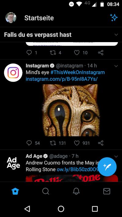 Ansicht der Twitter App