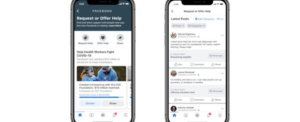 Facebook bietet Plattform für User in Quarantäne