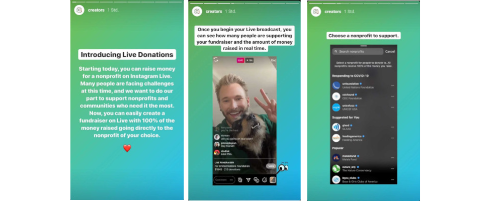 Jetzt auch in Live Videos: Spenden sammeln bei Instagram