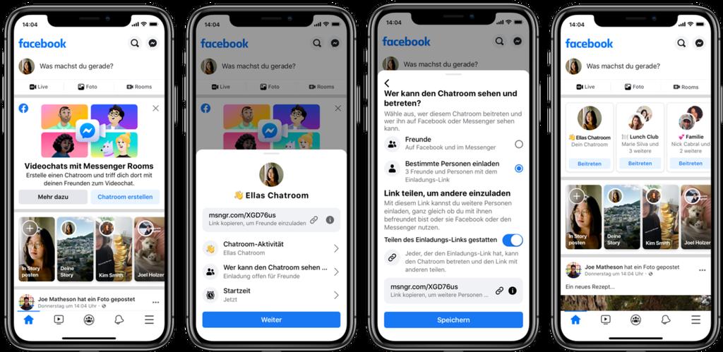 Screenshots auf denen das neue Feature Facebook Rooms zu sehen ist