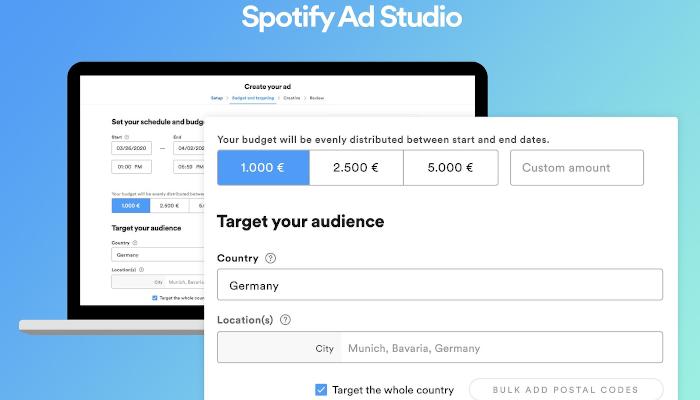 Einfach in der Playlist werben: Spotify startet Ad Studio in Deutschland