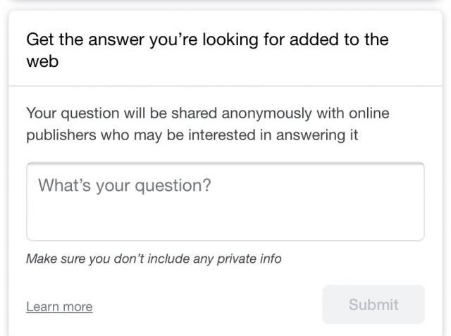 Das in die Suche integrierte Google Question Hub