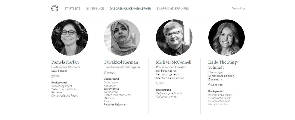 Nobelpreisträgerin, ehemalige Ministerpräsidentin und Co. – Facebook stellt Personen des Oversight Boards vor