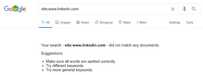 Keine Ergebnisse für linkedin.com bei Google