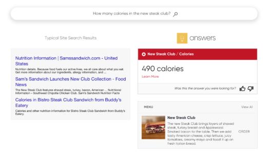 Klassische Suchergebnisse im Vergleich zu Answers von Yext
