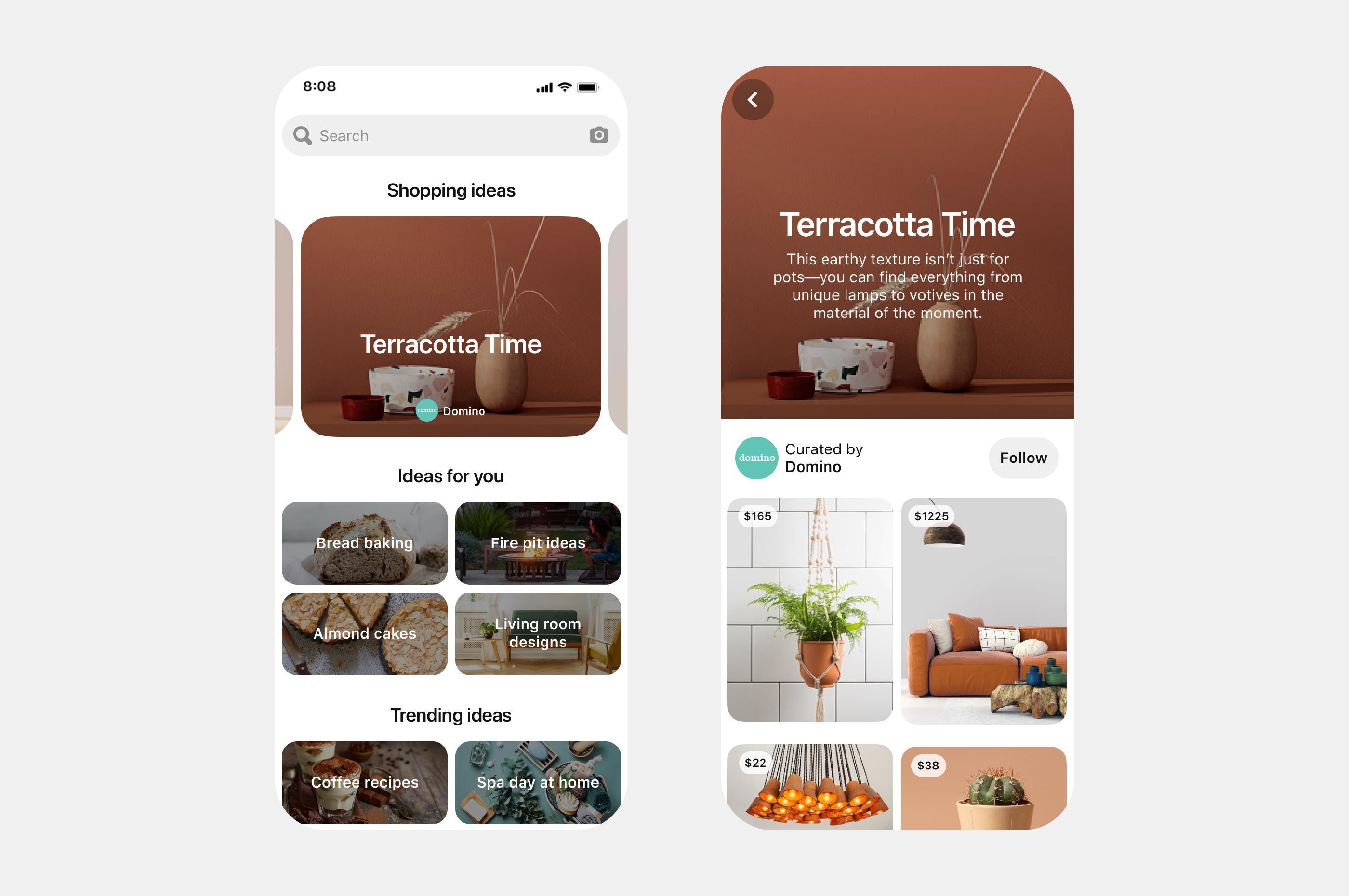 Screenshot des neuen Features auf Pinterest: Shopping Spotlights