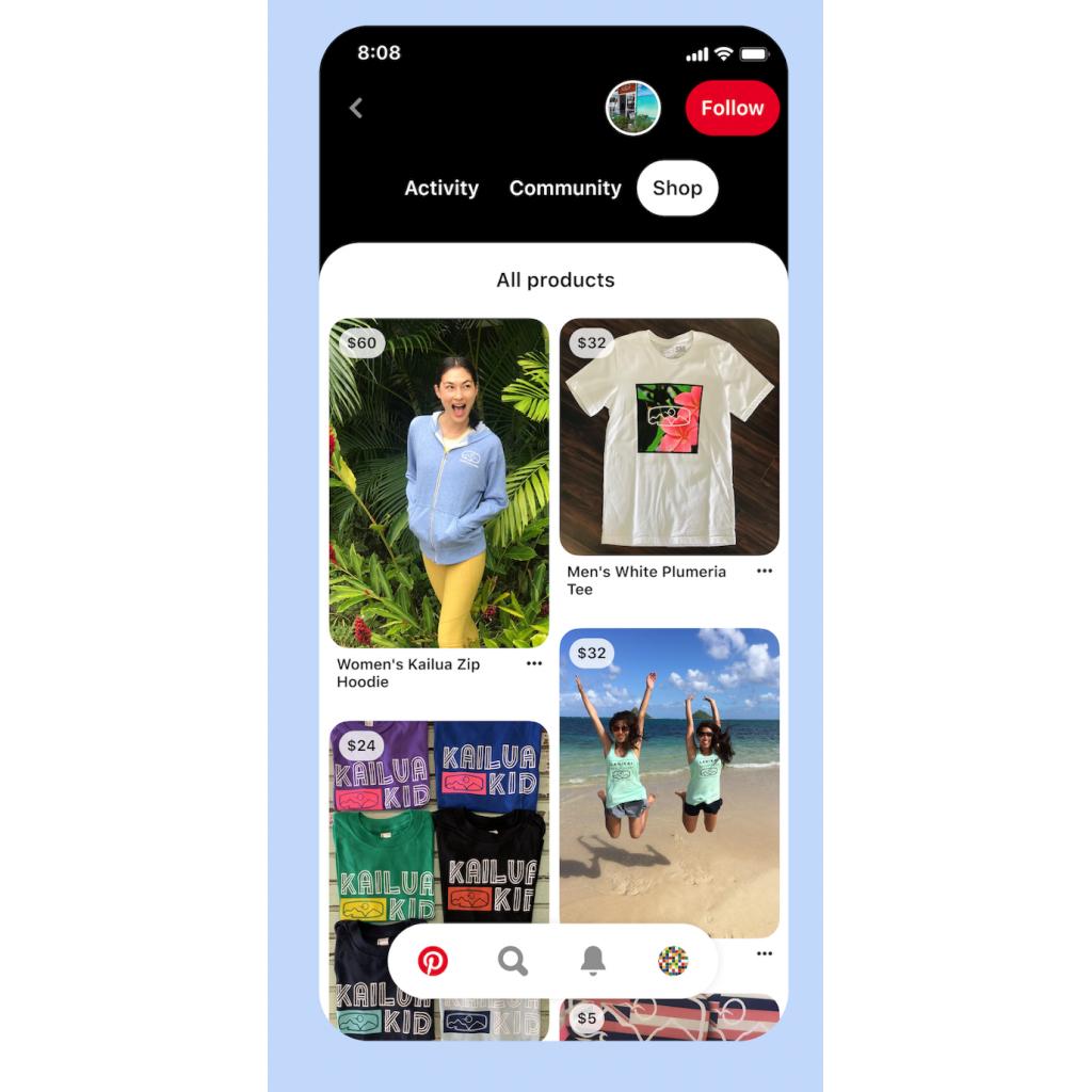 Produktkatalog und Shop Button auf Pinterest