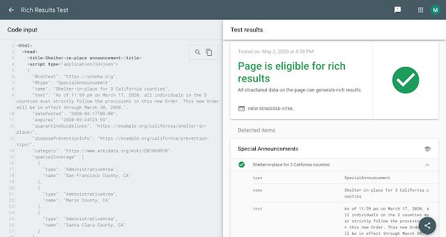 Rich-Suchergebnisse-Test, Beispiel für Special Announcements