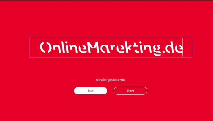 OnlineMarketing.de in der Schriftart Sans Forgetica geschrieben