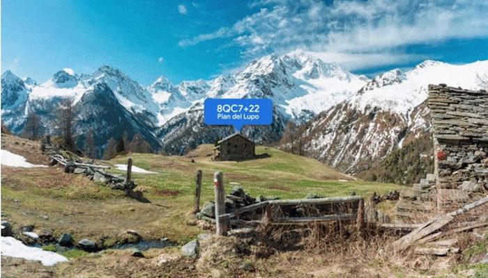 Ein Beispiel für den neuen Plus Code bei Google Maps: Eine einsame Hütte in den Bergen, die mit einem Code lokalisiert werden kann
