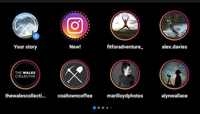 Screenshot des neuen Story Display auf Instagram. Es werden zwei reihen der Sory Bubbles angezeigt