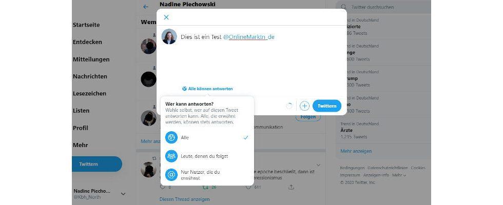 Twitter: Exklusive Testgruppe kann Antworten beschränken