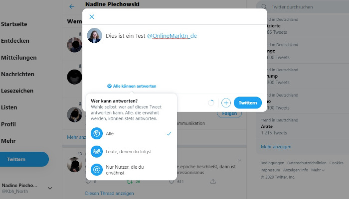 Screenshot des neuen Features auf Twitter, mit dem Antworten limitiert werden können