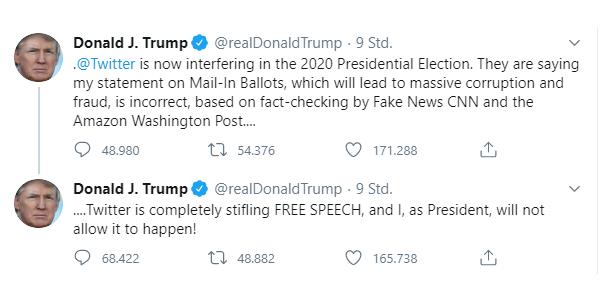 Screenshot von Trumps Twitter Account