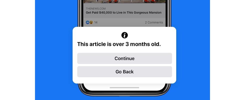 Facebook warnt User, die veraltete News teilen