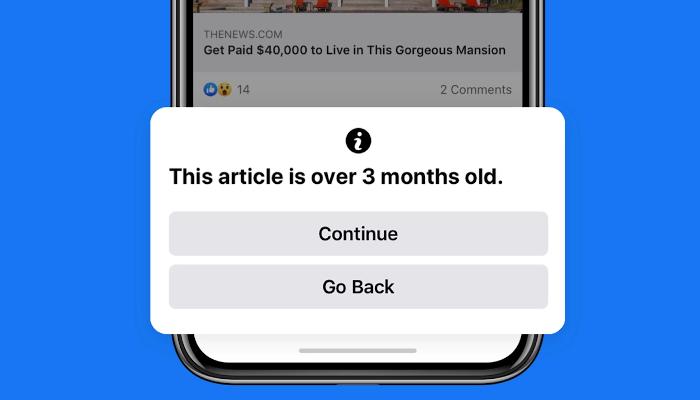Facebook Artikel zu alt, Warnung