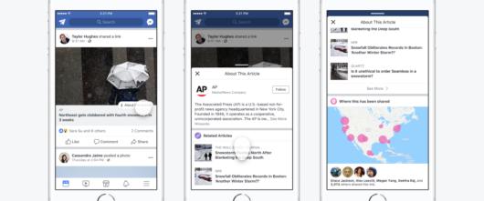 Facebooks Kontext-Button für Publisher.