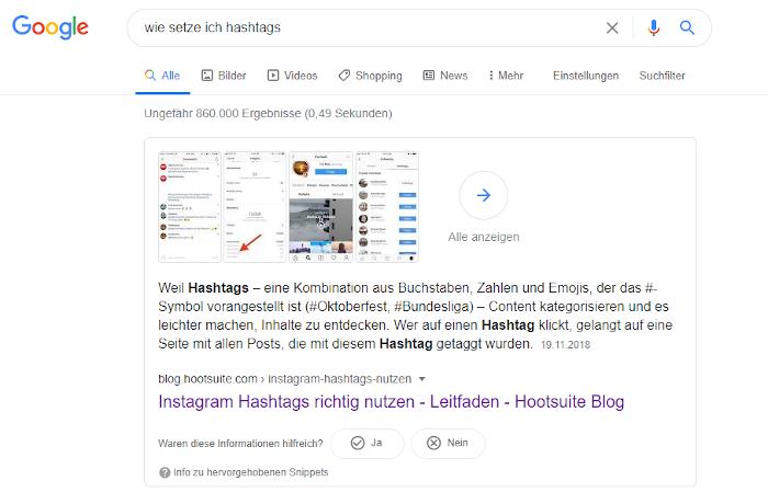 Google-Suche zum Setzen von Hashtags