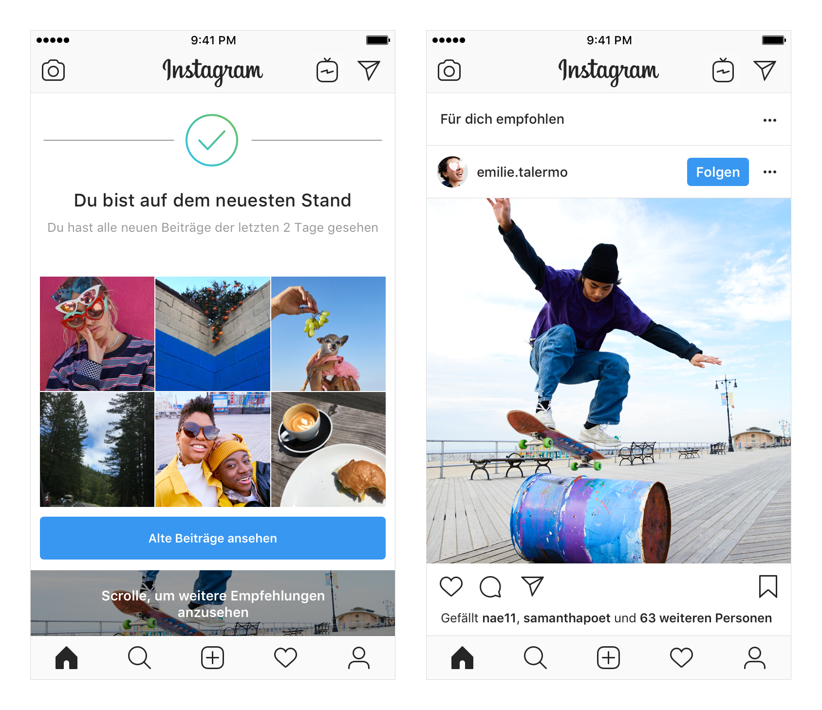 Screenshots des Instagram Feed-Format von 2018