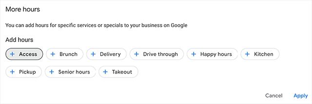 Kategorien für erweiterte Öffnungszeiten bei Google My Business, Quelle Barry Schwartz
