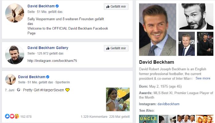 Knowlede Panel zu David Beckham bei Facebook