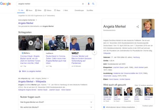 Knowledge Panel zu Angela Merkel bei Google