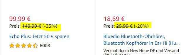 Streichpreis bei Amazon