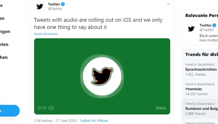 Du kannst jetzt Tweets mit deiner Stimme absetzen